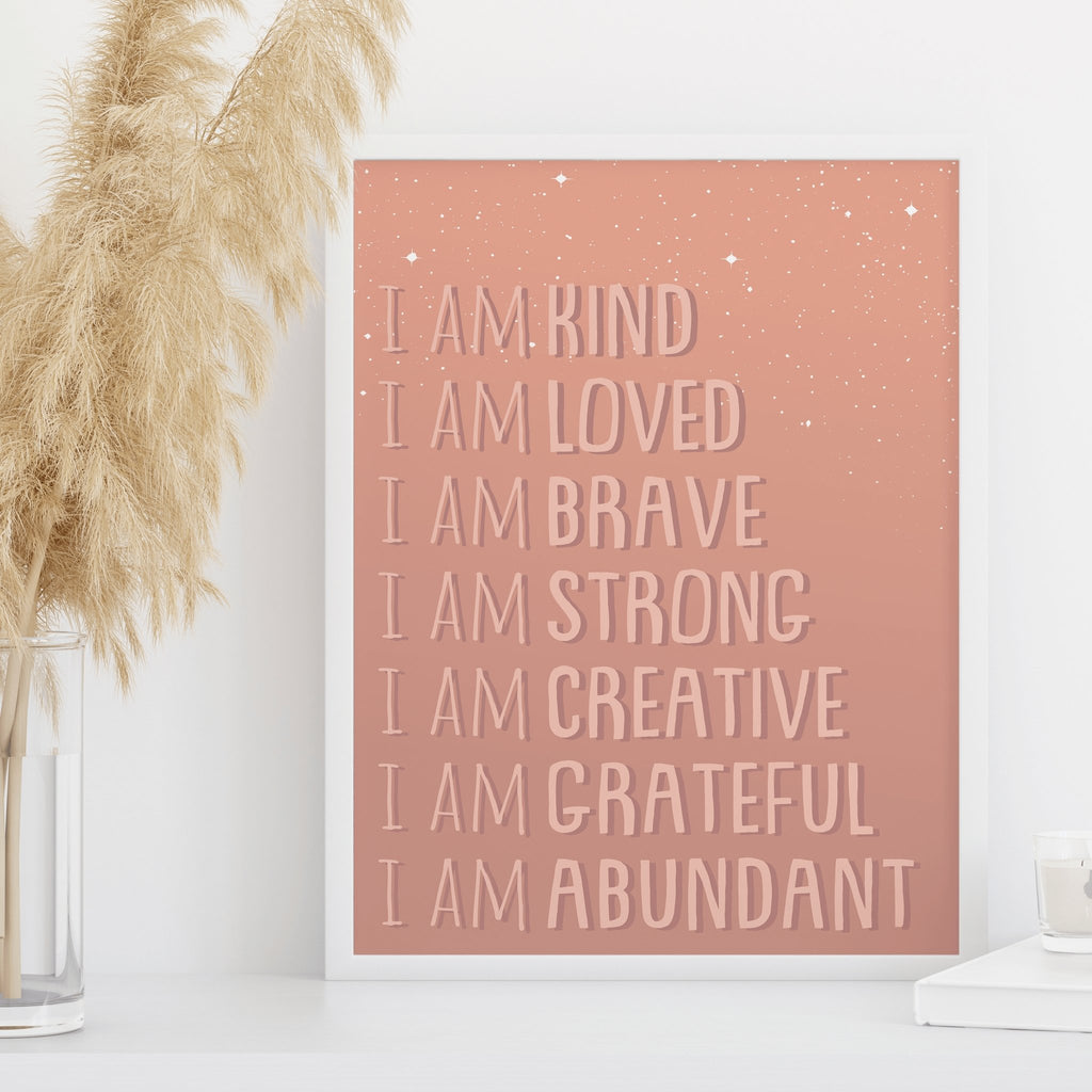I Am Affirmations, Affirmation wall art, I am Brave, Positive affirmation, Affirmations Printable Art, Inspirational Art, Motivational print - I am Affirmations