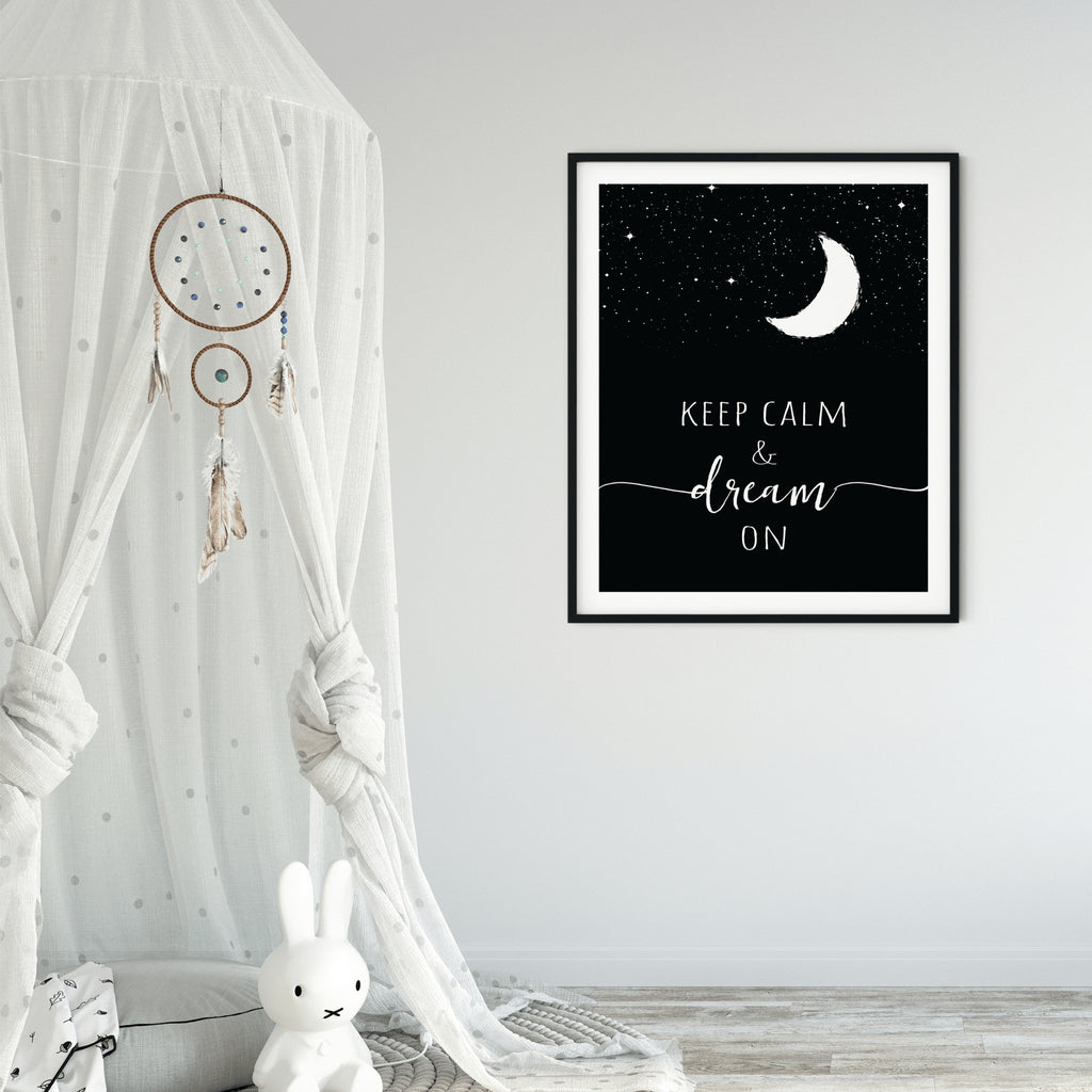 Night Sky Print, Stars and Moon Nursery Art, Keep Calm Dream On Celestial Printable Wall Art, Crescent Moon, Kids Moon Print, Starry Night - Keep Calm and Dream On