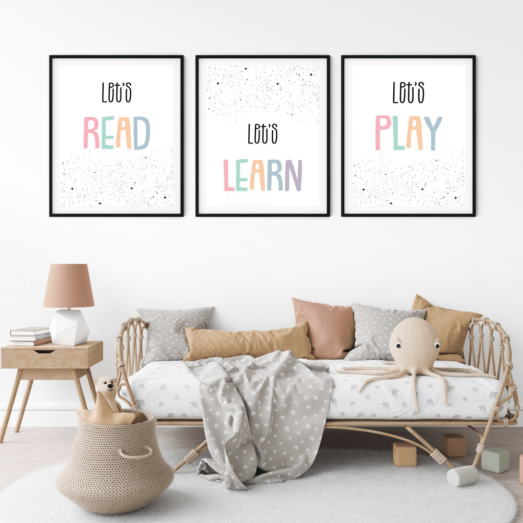 Motivational Home School Decor, Growth Mindset, Inspirational Classroom Art Poster, Motivational Education Art - Let's Learn, Read, Play