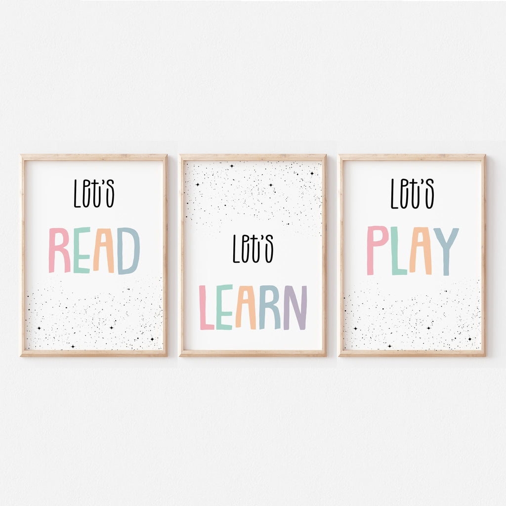 Motivational Home School Decor, Growth Mindset, Inspirational Classroom Art Poster, Motivational Education Art - Let's Learn, Read, Play - Let's Learn, Read, Play