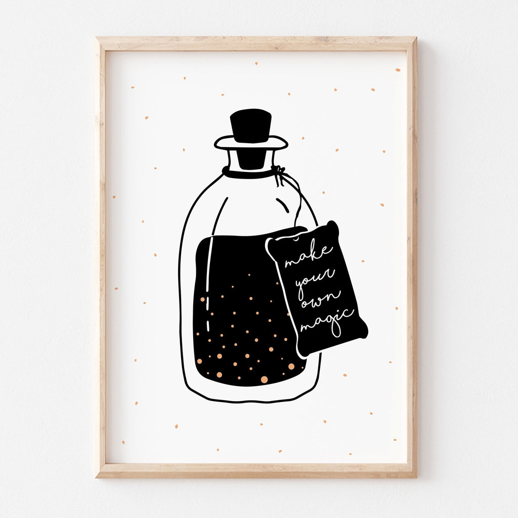 Make Your Own Magic Quote | Nursery Kids Playroom Motivational Art Print | Black and White Monochrome - Make Your Own Magic