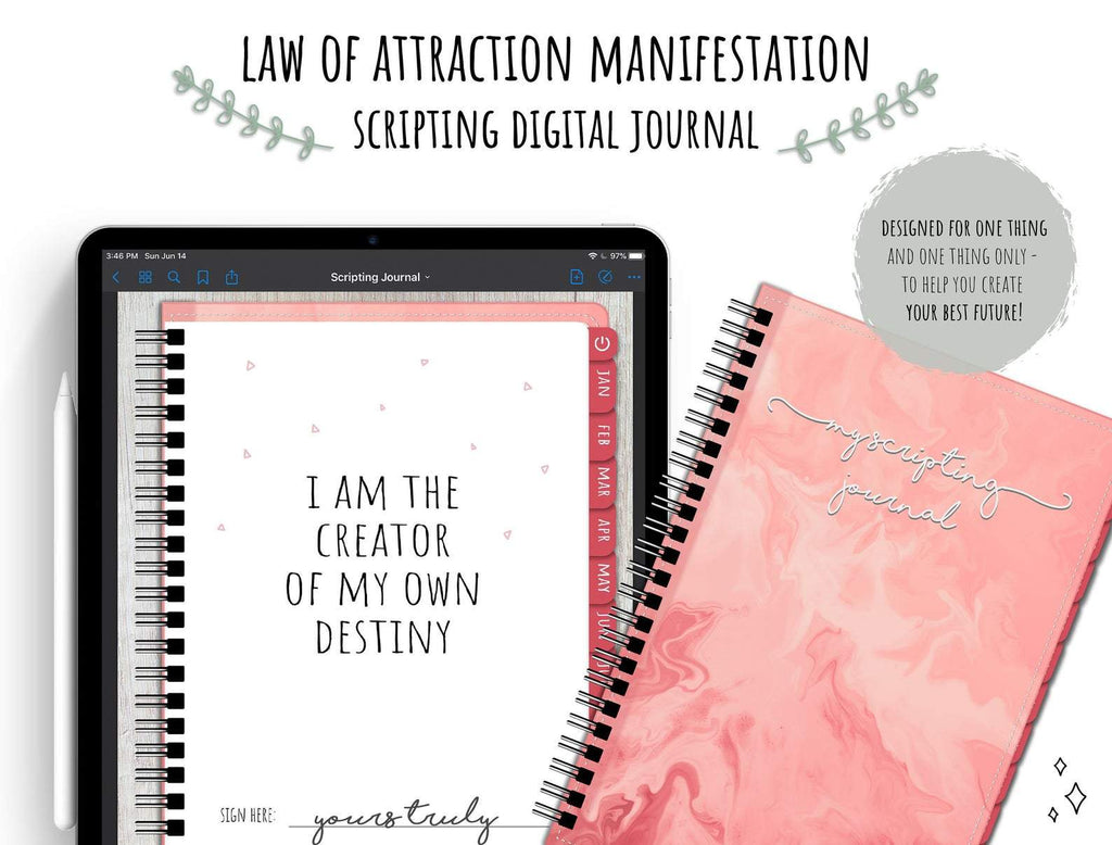 Law Of Attraction Scripting Manifestation Digital Journal | Visualization Affirmations Planner - Manifestation Scripting Digital Journal - Light Mode
