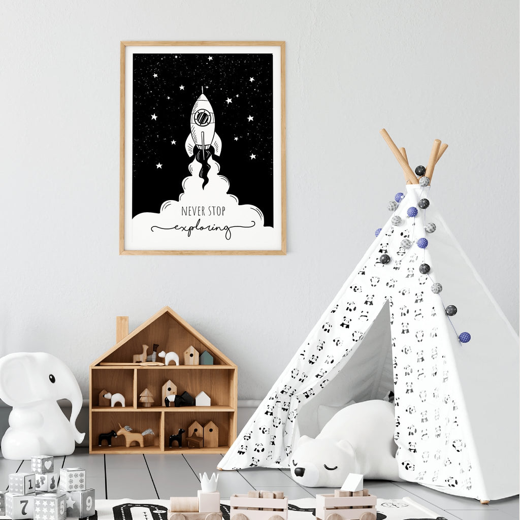 Never Stop Exploring Outer Space Rocket Inspiring Nursery Monochrome Wall Art - Never Stop Exploring Space Rocket
