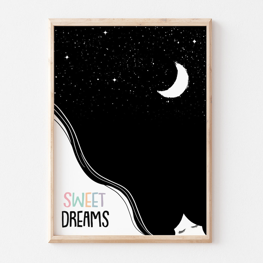 Sweet Dreams Print Girls Nursery Art Printable, Dreamy Kids Room Art - Sweet Dreams