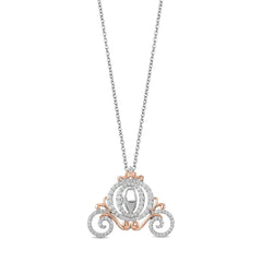 Enchanted Disney Fine Jewelry 9K White and Rose Gold with 0.50 CTTW Diamonds Cinderella Carriage Pendant