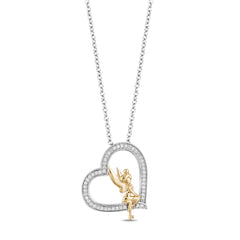 Enchanted Disney Fine Jewelry Sterling Silver & 10K Yellow Gold 1/5Ctw Tinker Bell Pendant