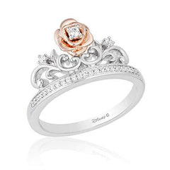 Enchanted Disney Fine Jewelry Sterling Silver and 9K Rose Gold 0.10 CTTW Belle Rose Tiara Ring