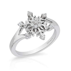 Enchanted Disney Fine Jewelry Sterling Silver 0.16Cttw Elsa Snowflake Ring