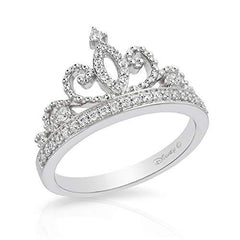 Enchanted Disney Fine Jewelry Sterling Silver 0.20Cttw Majestic Princess Tiara Ring