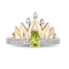 Enchanted Disney Fine Jewelry Sterling Silver and 10kt Yellow Gold 0.10 CTTW and Peridot Tiana Water Lily Tiara Ring