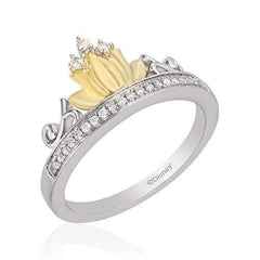 Enchanted Disney Fine Jewelry Sterling Silver and 9K Yellow Gold 0.10 Cttw Tiana Water Lily Tiara Ring.