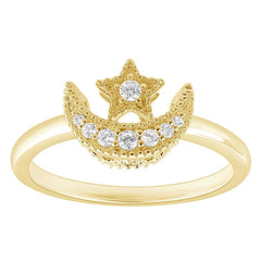 Enchanted Disney Fine Jewelry 9K Yellow Gold 0.10 Cttw Jasmine Moon and Star Ring