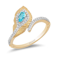Enchanted Disney Fine Jewelry 9K Yellow Gold 0.16 CTTW and Swiss Blue Topaz Jasmine Peacock Feather Ring