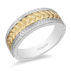 Enchanted Disney Fine Jewelry 14K White and Yellow Gold 0.25 CTTW Mens Ring – Inspired by Rapunzel Braid.
