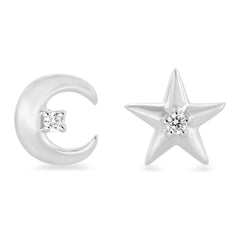 Enchanted Disney Fine Jewelry Sterling Silver with 0.05 CTTW Diamonds Jasmine Star and Moon Earrings
