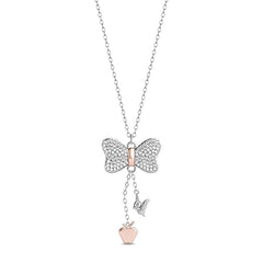 Enchanted Disney Fine Jewelry Sterling Silver and 9K Rose Gold 0.20 CTTW Snow White Necklace