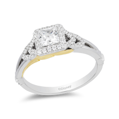 Enchanted Disney Fine Jewelry 14K White and Yellow Gold 0.75 CTTW Pocahontas Bridal Ring