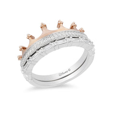 Enchanted Disney Fine Jewelry Sterling Silver and 9K Rose Gold 0.33 CTTW Majestic Princess Crown Ring