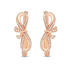 Enchanted Disney Fine Jewelry 14k Rose Gold 1/2 CTTW Snow White Bow Earrings