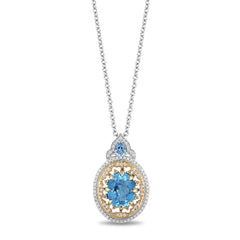 Enchanted Disney Fine Jewelry 9K White and Yellow Gold with 0.20 Cttw Diamonds and Swiss Blue Topaz Aladdin Cave Of Wonders Pendant