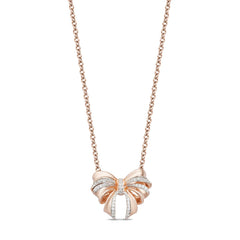 Enchanted Disney Fine Jewelry 10K Rose Gold 1/10 CTTW Snow White Bow Necklace