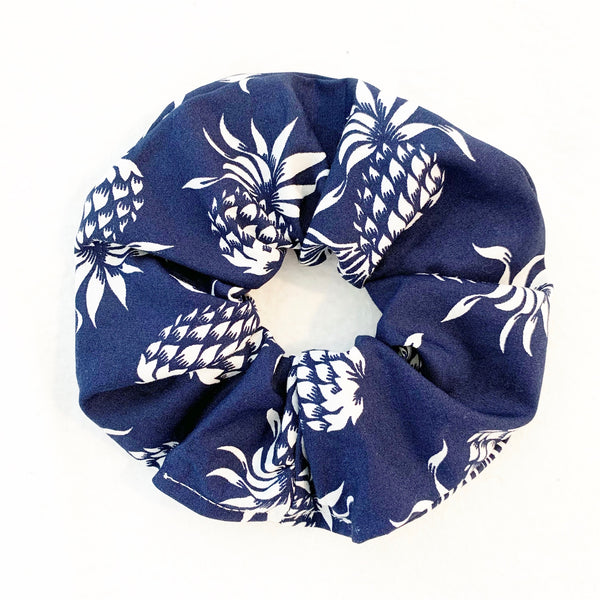 FALLING PINEAPPLES BLUE SCRUNCHIE