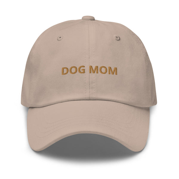 DOG MOM HAT - TAN LETTERS (CUSTOM BACK)