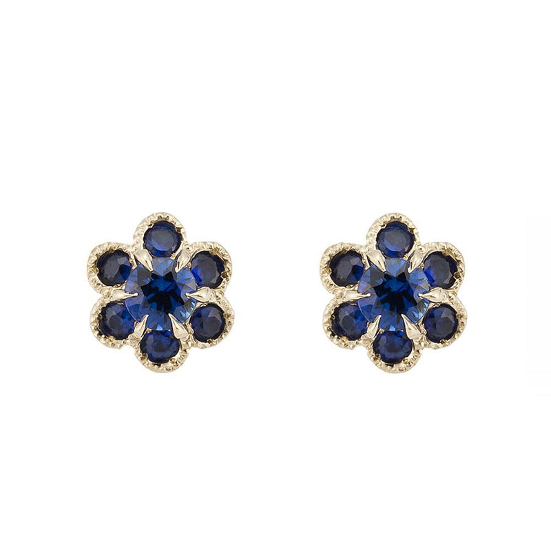 1333C<br>ブルーサファイア -フルール<br>- fleurs -<br>Blue sapphire pierced-earrings