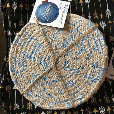 Coasters: Fabric Coiled Blue
