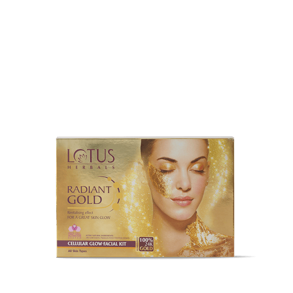 RADIANT GOLD Cellular Glow Salon Grade Single FACIAL KIT - Lotus Herbals