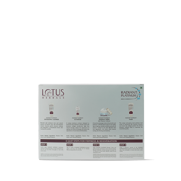 RADIANT PLATINUM Cellular Anti-Ageing Salon Grade FACIAL KIT - Lotus Herbals