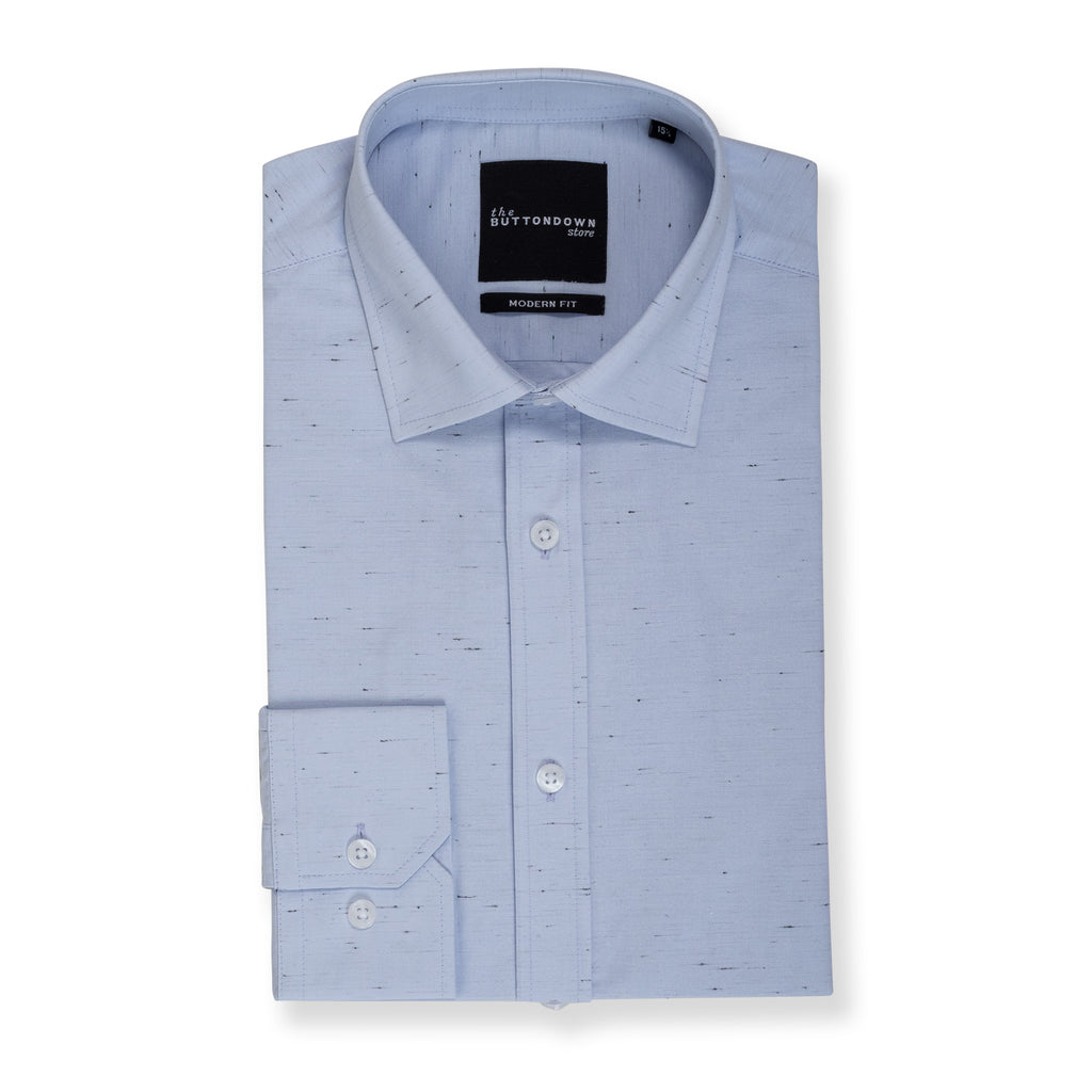 Ash blue long sleeve button down with stitch marks