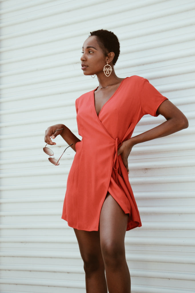 Contrived Clash 1990's Red Wrap Mini Dress