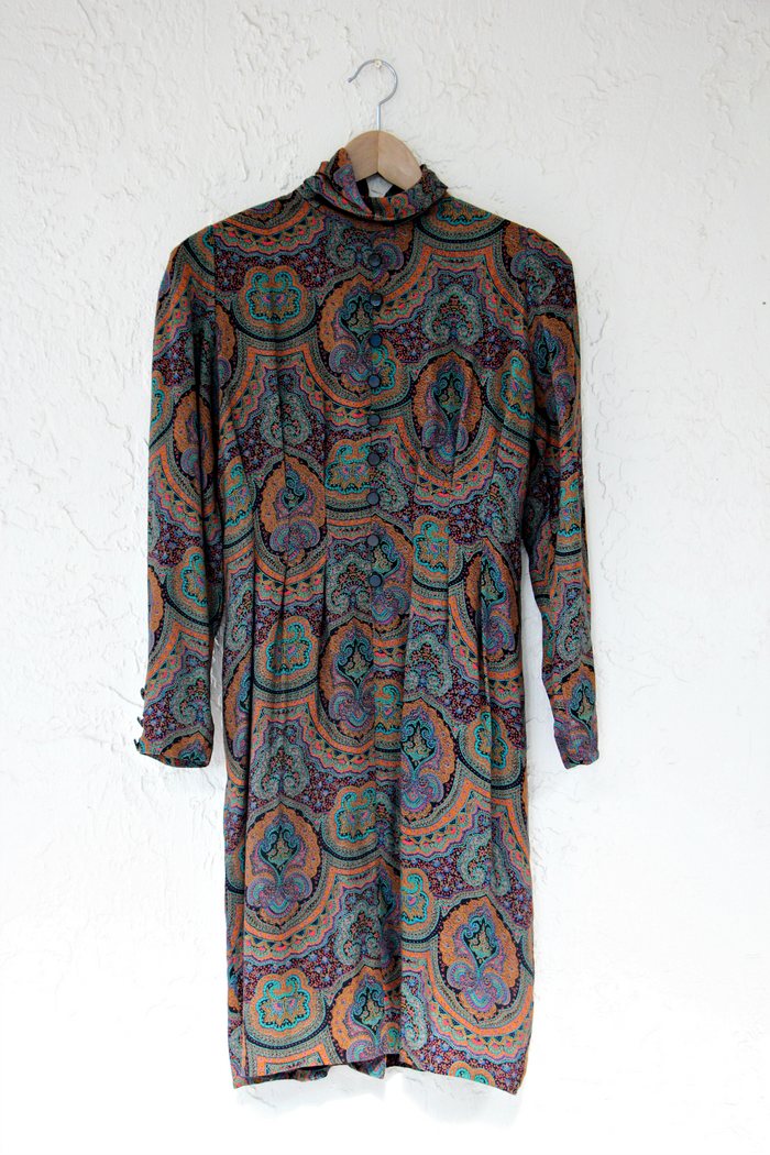 Ronnie Heller x Saks Fifth Avenue 1980's Printed Dress