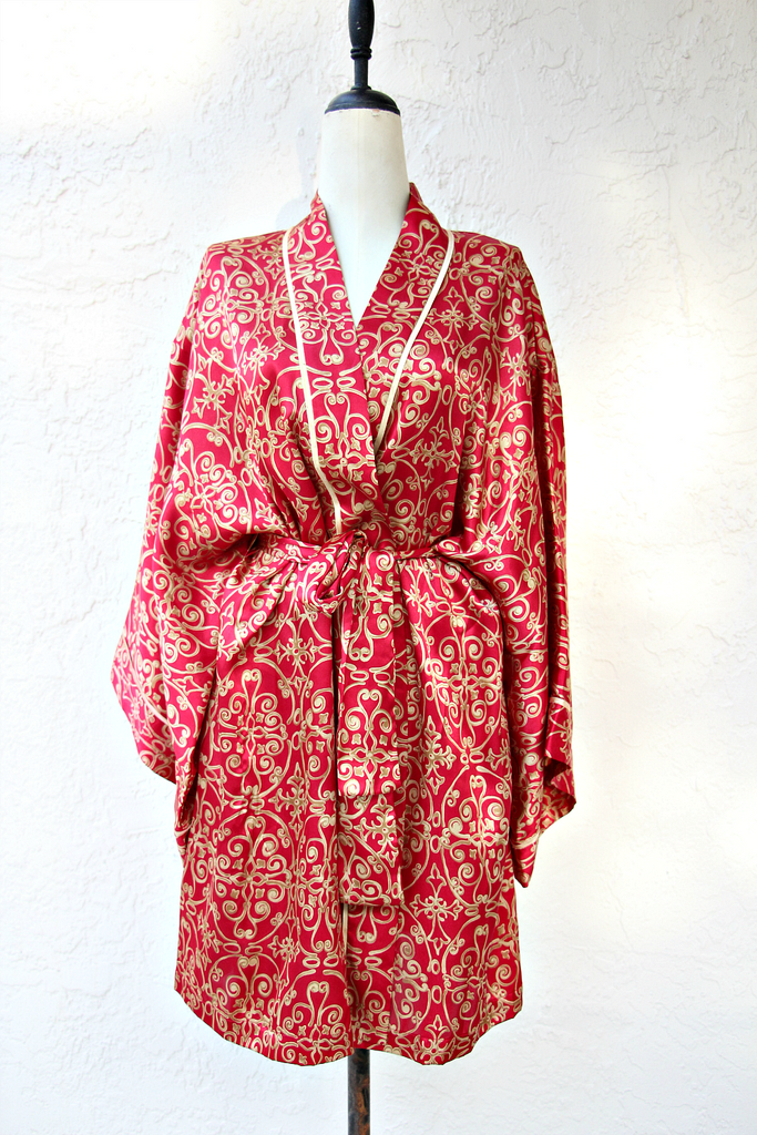 Vintage Red and Gold Kimono