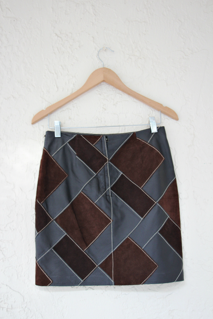 1970's Vintage Inspired Brown Leather Patchwork Mini Skirt