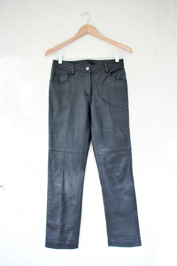 1960's Black Vintage Inspired Leather Pants