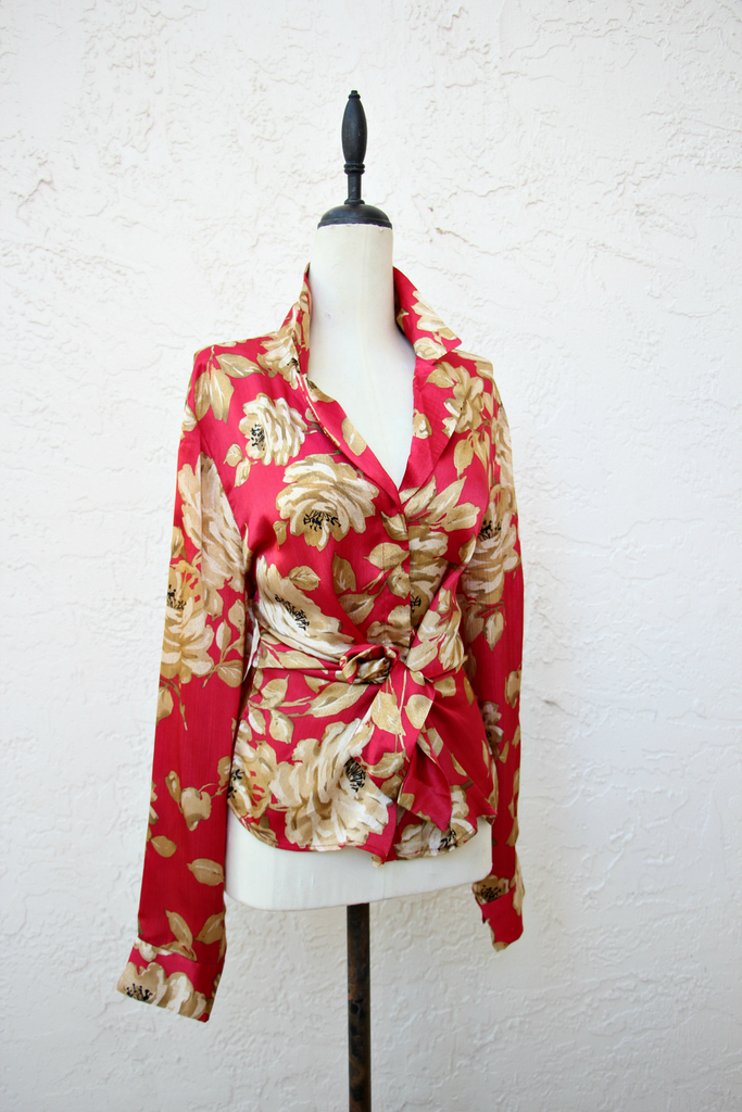 Vintage Red Floral Tie Top
