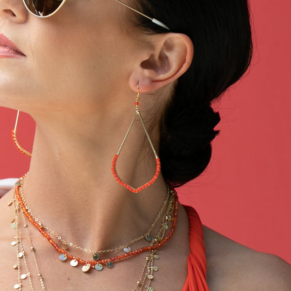 OCTA BLOCK EARRING IN ORANGE