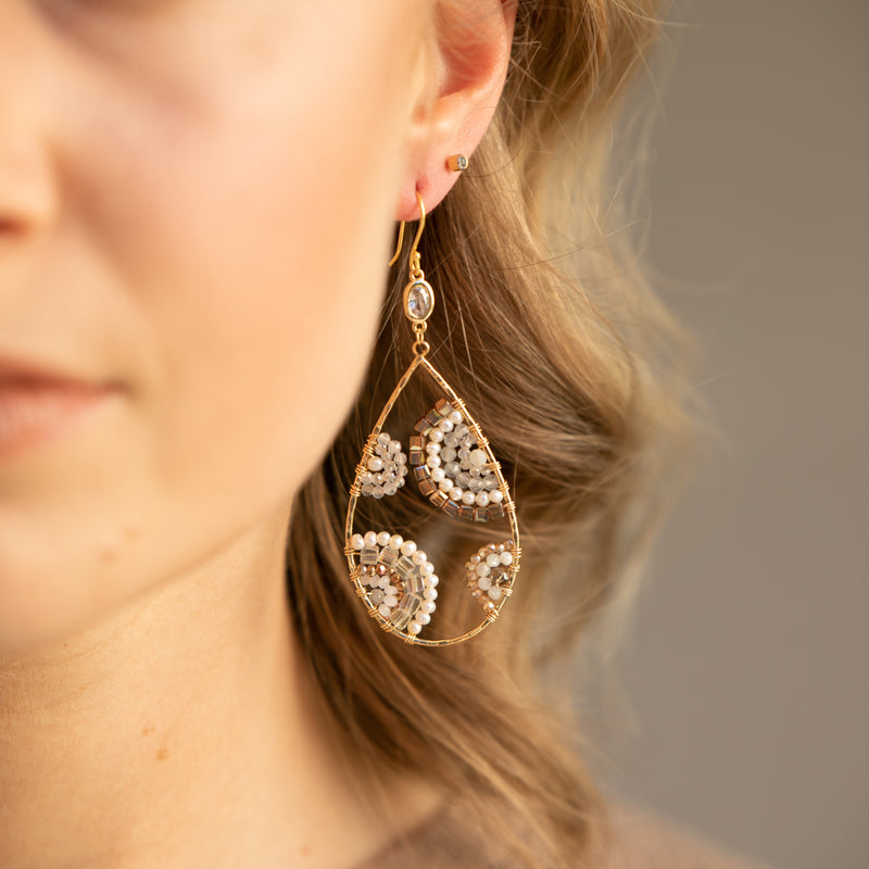 CRESCENT DROP EARRINGS WITH PEARLS