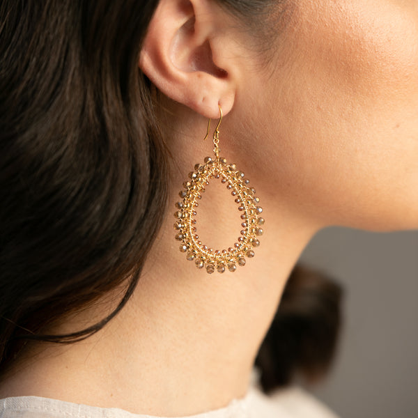 CHAMPAGNE CRYSTAL ROLO CHAIN EARRING
