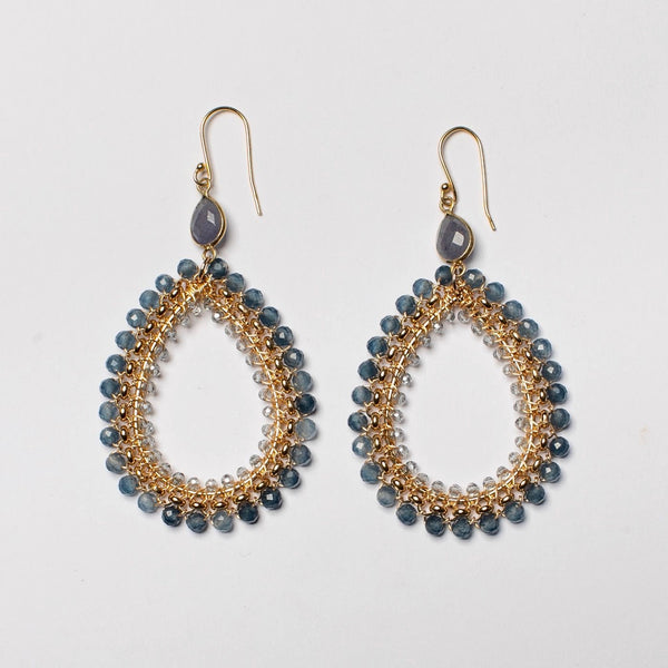 IOLITE ROLO CHAIN LARGE EARRING