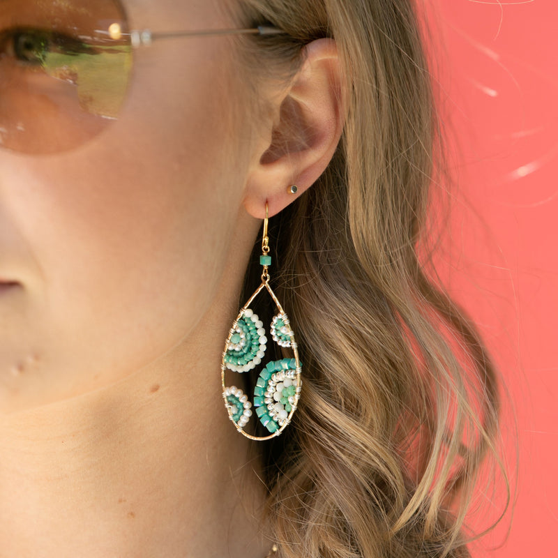 CRESCENT IN SHADES OF SEAFOAM EARRINGS