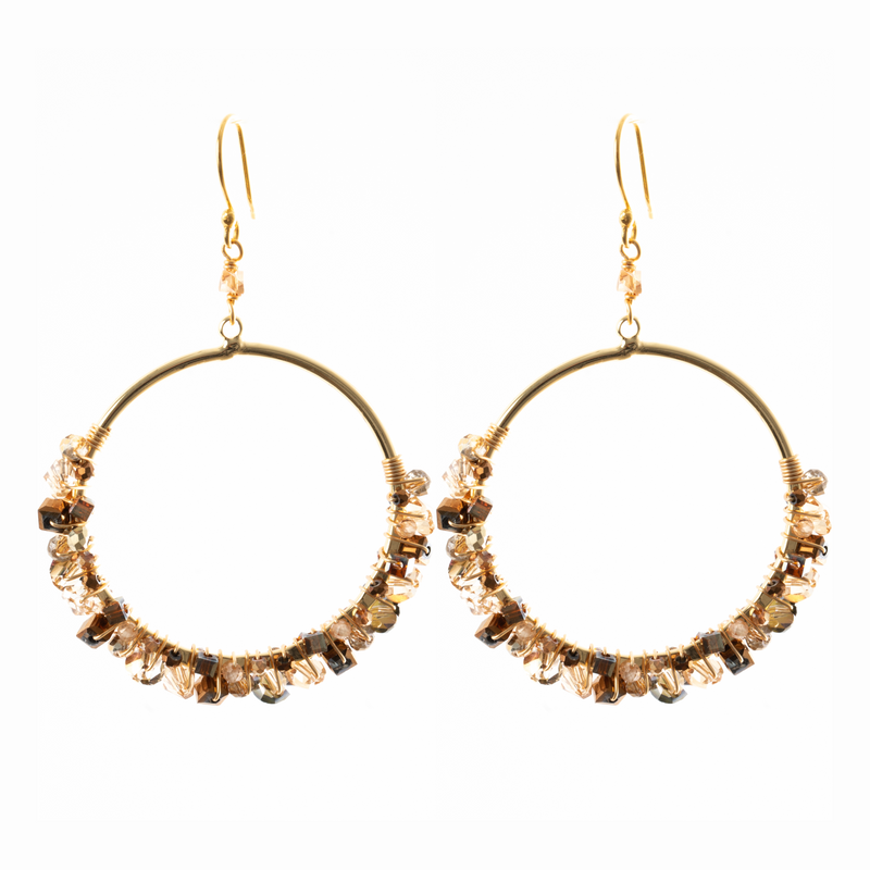 CLUSTER LARGE HOOP IN CHAMPAGNE