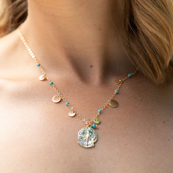 SHORT AQUAMARINE COMPASS NECKLACE