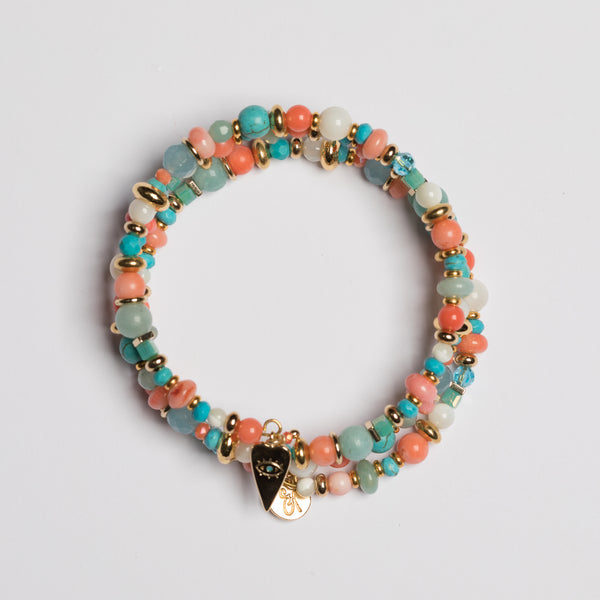 MEMORY WIRE CORAL BRACELET