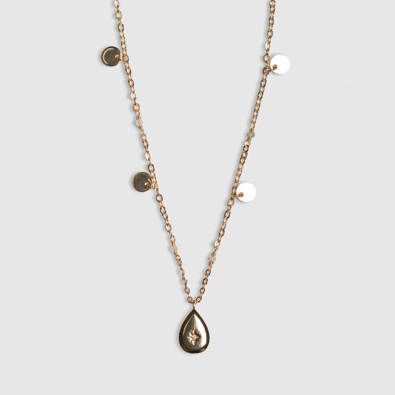 FINE PEARL NECKLACE WITH CZ DROP