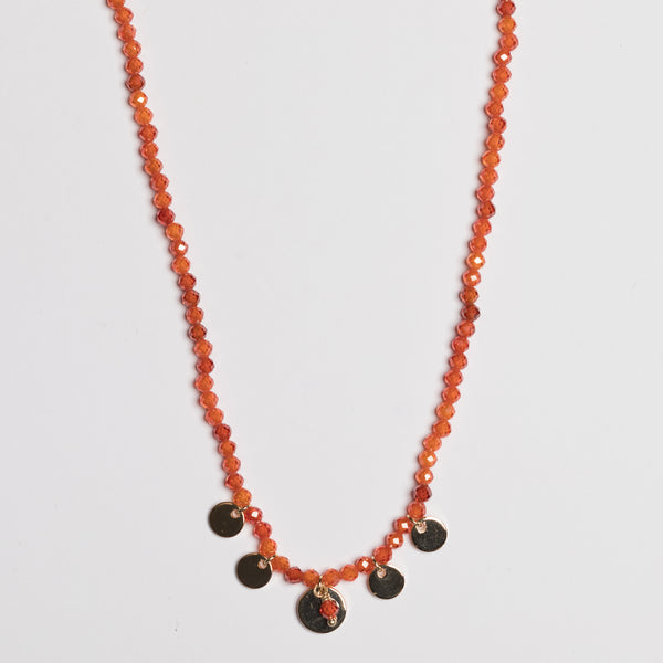 CARNELIAN SHORT DISC NECKLACE