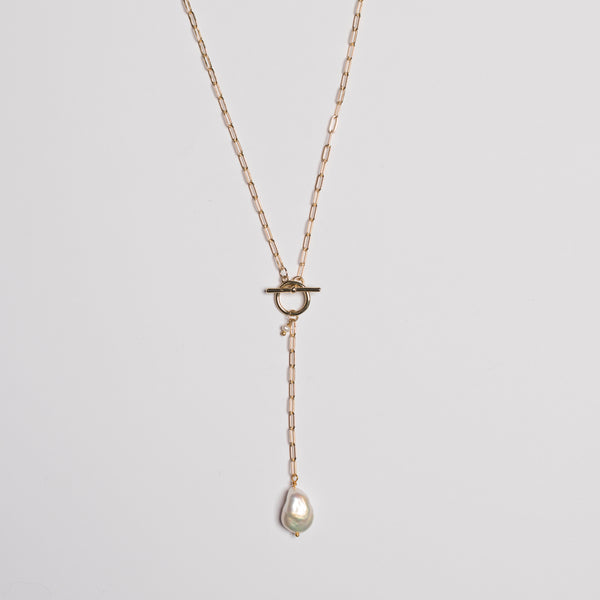 FOB T-BAR PEARL DROP NECKLACE