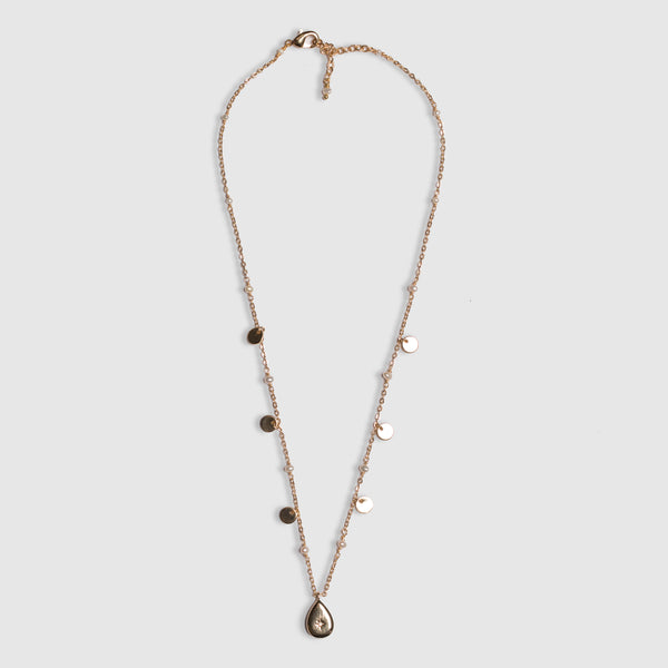 SHORT CHAIN CZ DROP NECKLACE WITH LABRADORITE